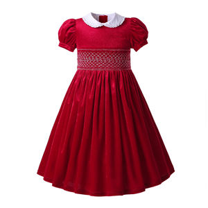 New design hot sale Custom Made Fall Smocked Dresses hand Burgundy Kids dress