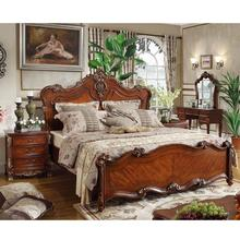 Europe American style home furniture luxury classic king size Hooker wooden bedroom furniture designs double carved bed WA622