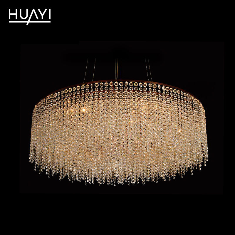 Customized Modern Luxury Iron K9 Crystal Chandelier Large Hotel Villa Indoor Round Decorative Crystal Light