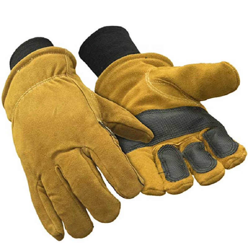 Double Insulated Cowhide Leather Warm Safety Work Gloves With Abrasion Pads