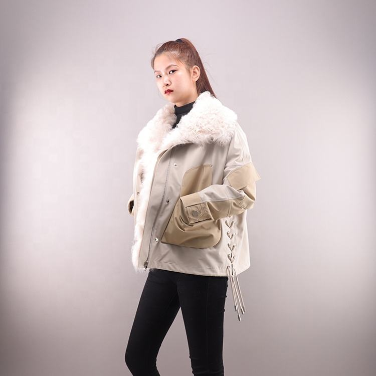 Popular styles short parka woman sheep fur collar duck down lined jacket outdoor casual real fur parka women