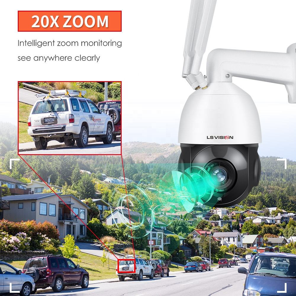 2MP 5MP 20X Optical Zoom 128GB SD Card Motorized 3G 4G LTE Wireless Outdoor WIFI Solar PTZ Camera H.265 70M IR Human Detection