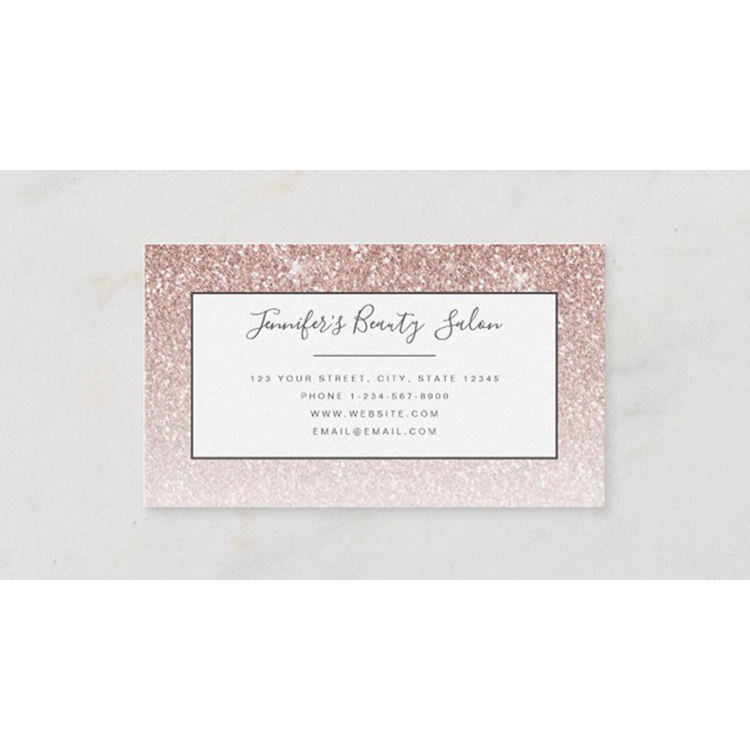Hot Sale Trendy Rose Gold Glitter Makeup Artist Hair Salon Business Card