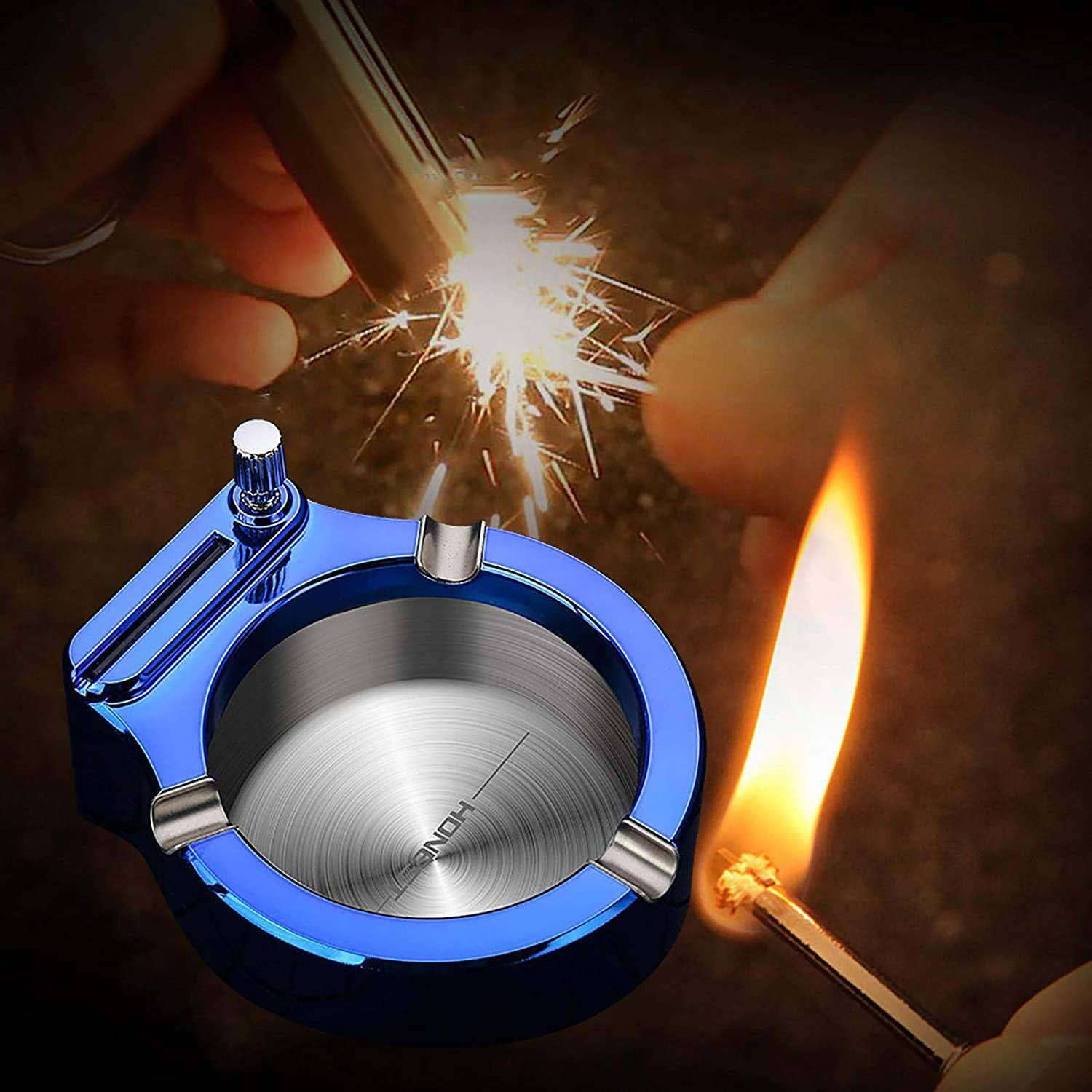 HelloWorld Creative Magnesium Match Ashtray Metal Hold 3 Pcs Smoking Supplies Office Accessories Gift(Kerosene Is Not Included)