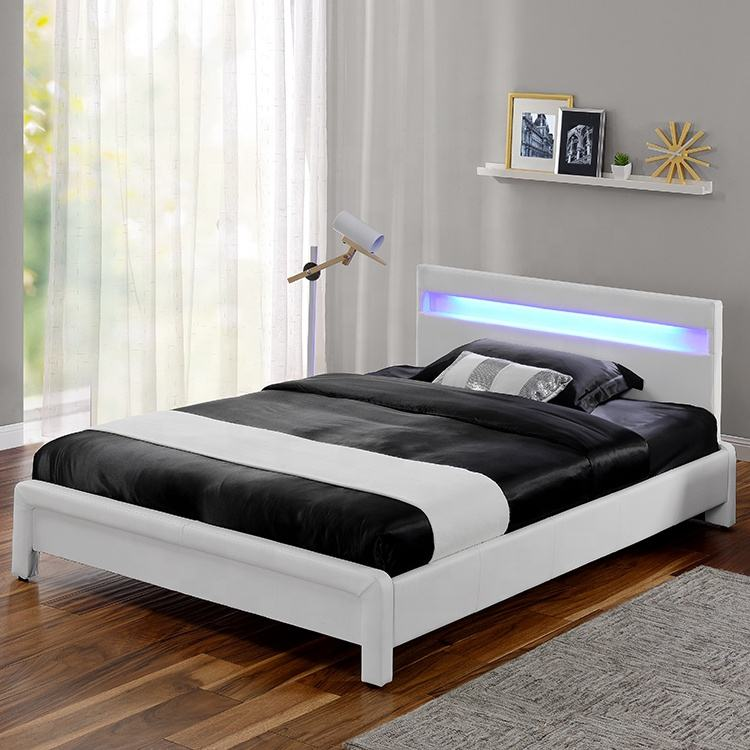 European Design Bed Double Size White Leather LED Bed 1823-1