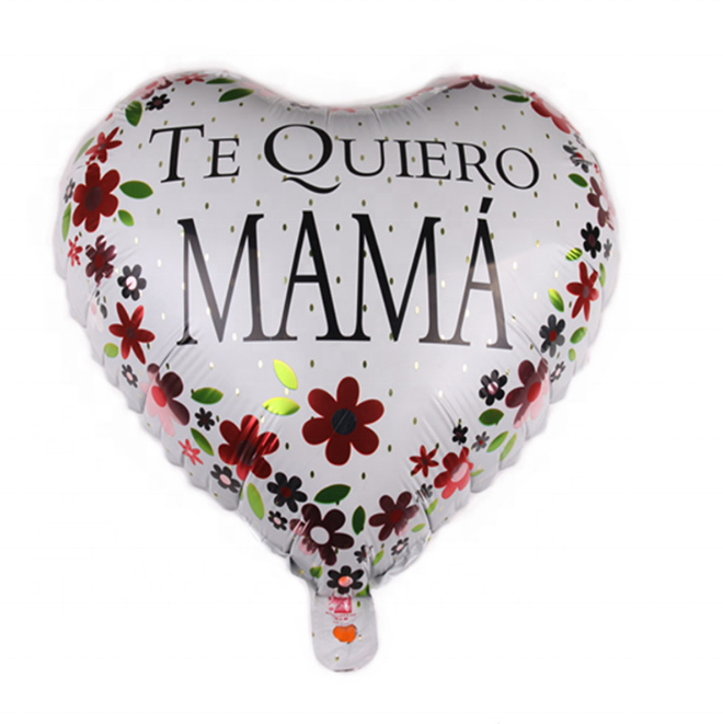 New 18-inch heart-shaped mother's day in Spanish festive aluminum foil foil balloon birthday party decoration