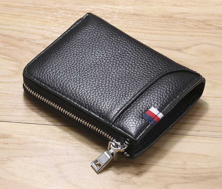 outdoor oem manufacturer high quality RFID business zipper closure mini small short men leather wallets
