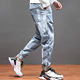 In Stock Custom Wholesale New Overalls Trendy Loose Harem Feet Stitching Beam Pants Jeans for Men
