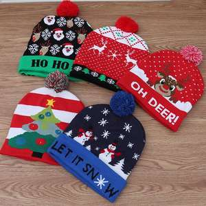 Hats With Colorful LED Light Soft Warm Knitted Santa Snowman Reindeer Christmas Hat Adult Kids Party Hat Decor