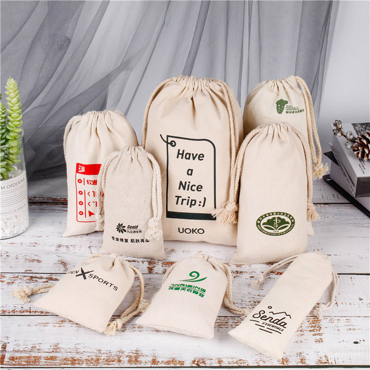 Wholesale customized Pattern Cotton Travel Drawstring Pouch Eco Friendly Blank Cotton Calico Gift Bags