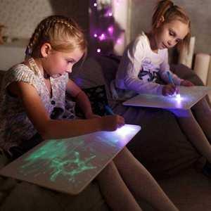 JSK-FA3 Fluorescent luminous drawing board led glow in the dark fun Graffit drawing toy magic pad kid drawing board A3