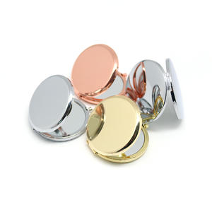 Hot souvenir round double side metal pocket mirror 7cm gold plated make up compact mirror customized logo