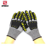 Wholesale high protection tpr vibration resistant hppe anti cut  sandy nitrile seiko polishing gloves