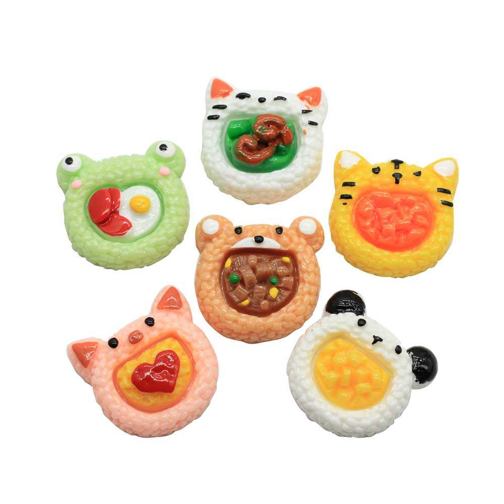 Kawaii Animal Head Food Mixed Resin Cabochon Flatback Tiger Frog Craft for Children Hairpin Making Scrapbook Decorations