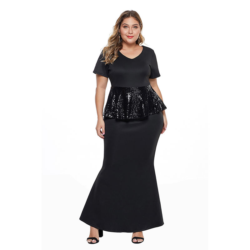 Women Short Sleeve Sequin Peplum Waist Dress Plus Size Gown