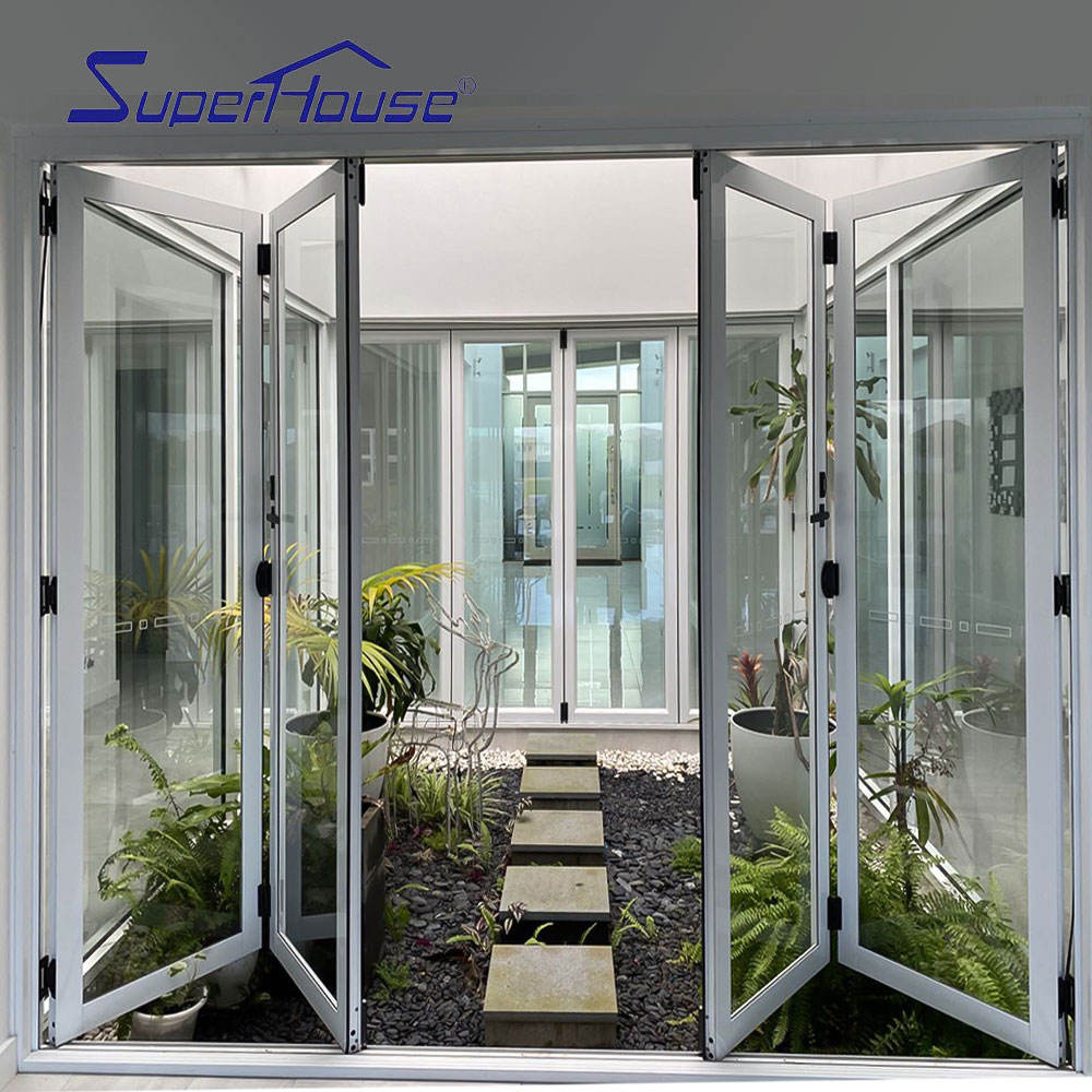 CSA NFRC AS2047 standard affordable double glazed 3 panel patio bifold glass exterior aluminum doors