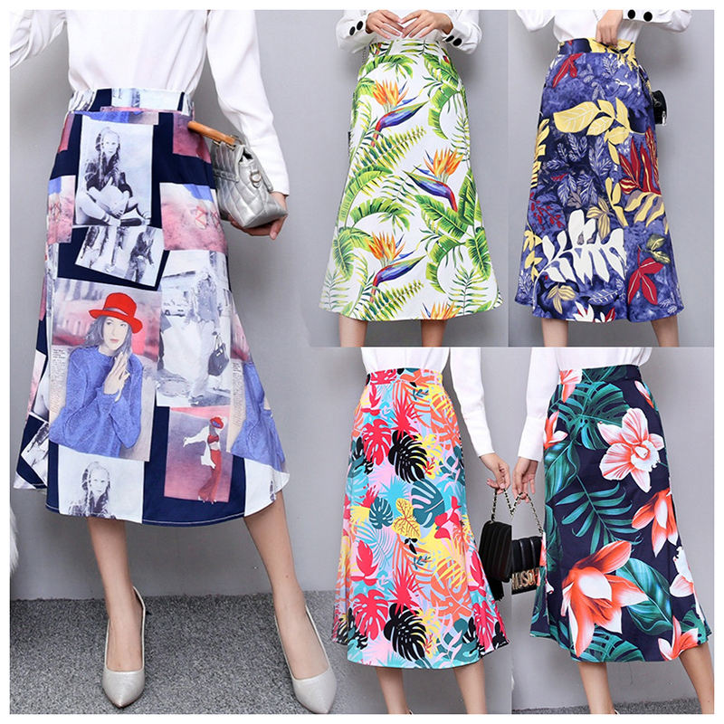 Women Graffiti mid-calf Skirts flower colorful digital print European style midi fishtail skirt