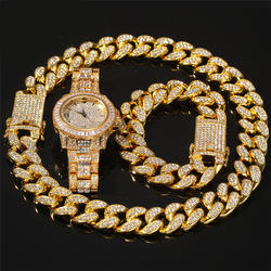Cuban Chain Necklace Bracelet Watch Jewelry Set Iced Out Hip