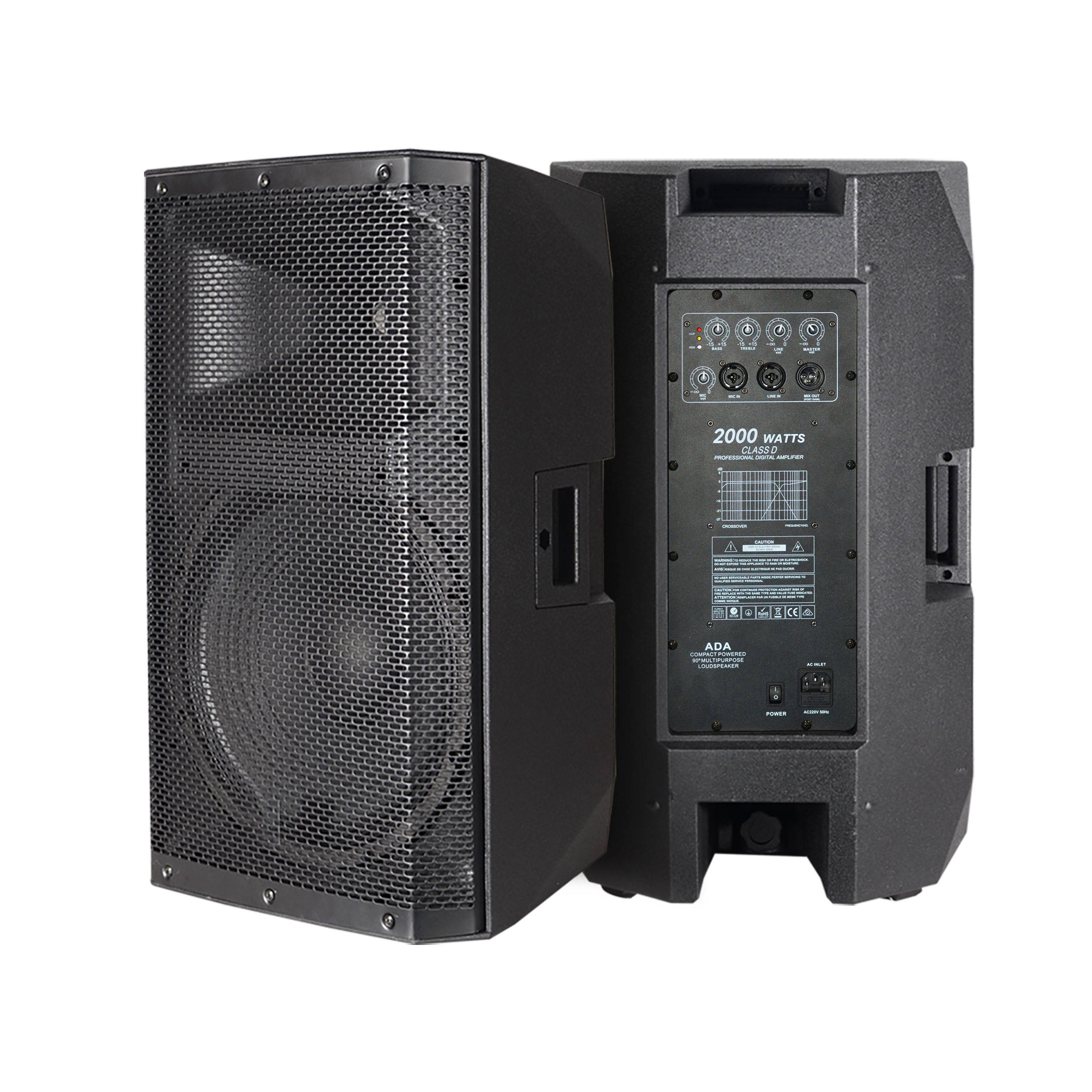 "RQSONIC CAC15ADA Professional P Audio 500W 15"" Inch Active Digital Powered Speaker Amplifier Plastic PA Speaker Sound System"