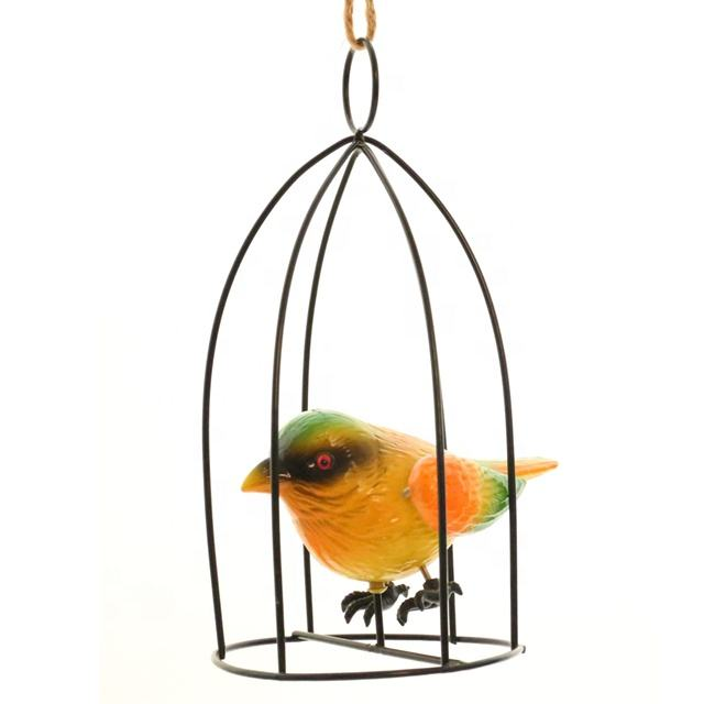 Osgoodway Factory Price Cute Plastic Bird in Metal Bird birdcage Fittings Garden decoration
