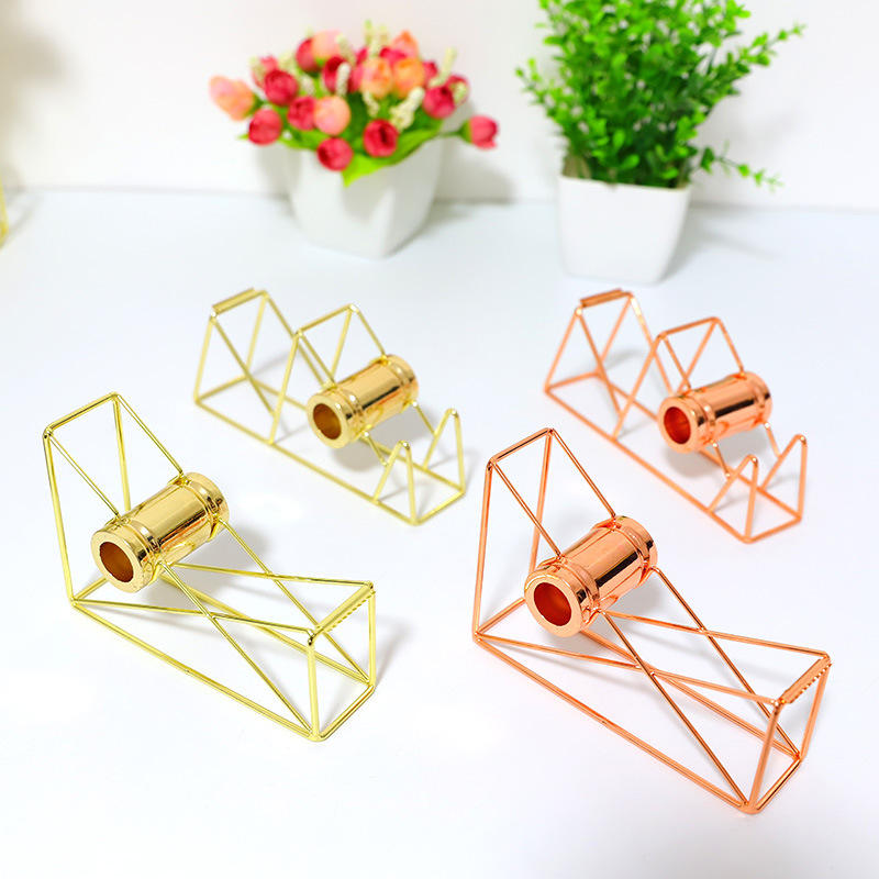 Rose Gold Metal Crafts Popular Stationery Office Mini Tape Dispenser Cutter Stand Promotional Gift Desktop Adhesive Tape Holder