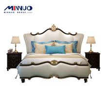 Europe style Italian American furniture luxury classic king size Hooker wooden bedroom furniture designs double carved bed