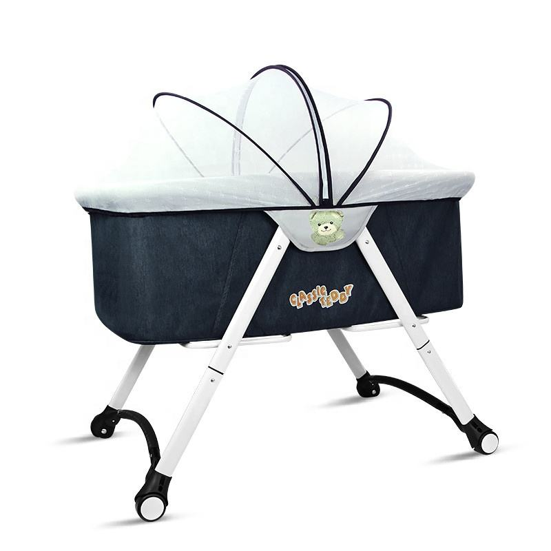 High Quality Wheels lockable Baby Cradle Crib Foldable Baby Bed For Reborn Babies