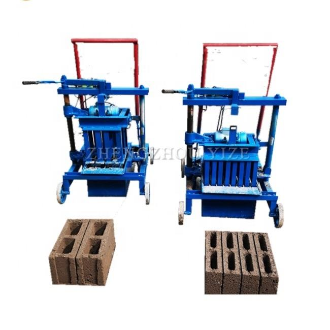 Mobile Mini Small Manual Cement Interlocking Block Bricks Making Interlock Brick Moulding Machine Lowest Price