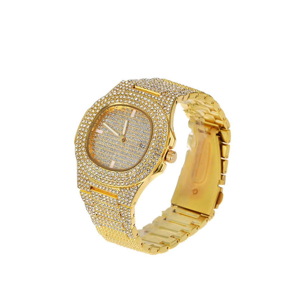 Wholesale Slim Stainless Steel Shiny Crystal Rhinestone Quartz Watch Wrist Brand Slim Hip Hops Iced Out Watches For Men Women