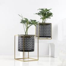Creative Black Gold Metal garden square  decorative flower pots and planters indoor and outdoor greeny use metal stand planter
