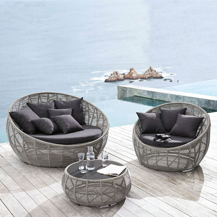 Leisure Tuin Zonnebank Lounger Meubelen Strand Zwembad Ronde Rotan Daybed
