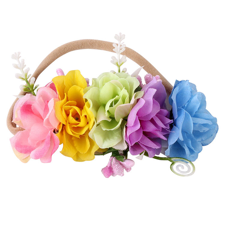 Hair accessories artificial rose flower wreath decorative woman weeding manufacturers head wraps headband