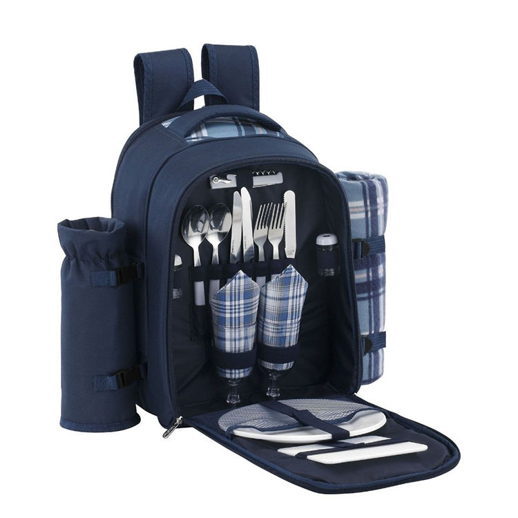 Travel Picnic Bag Backpack Insulated Picnic Basket 4 Person Picnic Set With Cooler Compartment Bottle Holder Fleece Blanket