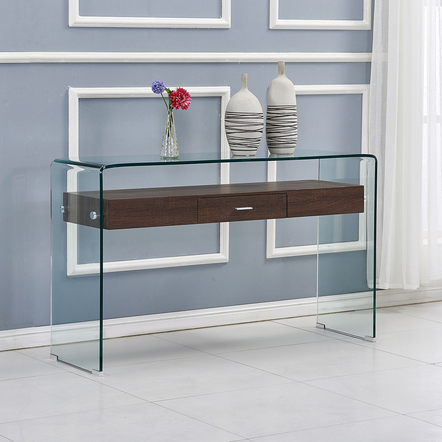 Acrylic Console Table Set Wood Console Table Drawer Entryway Table Hallway Console