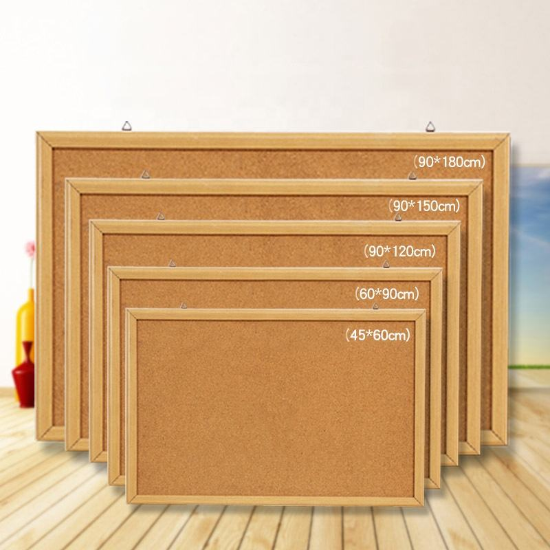 Multiple size 24*36 inch bulletin board cork board with wood frame