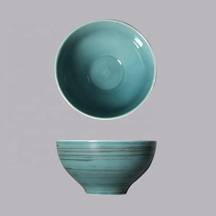 small japanese Nordic blue round porcelain restaurant salad curry ceramic soup bowls