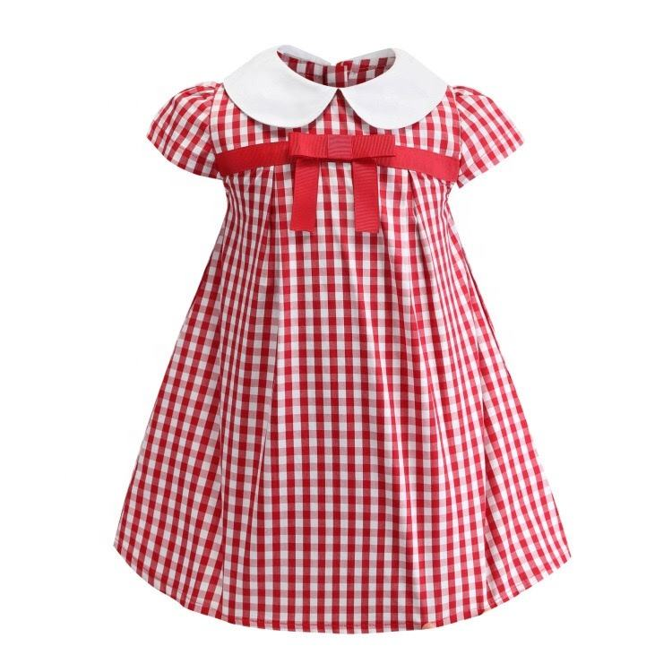 Logo Customization [ Red Dresses ] 2020new Girls Kids Red Plaid Dresses Short Sleeve Turtleneck Collar With Bow For Summer