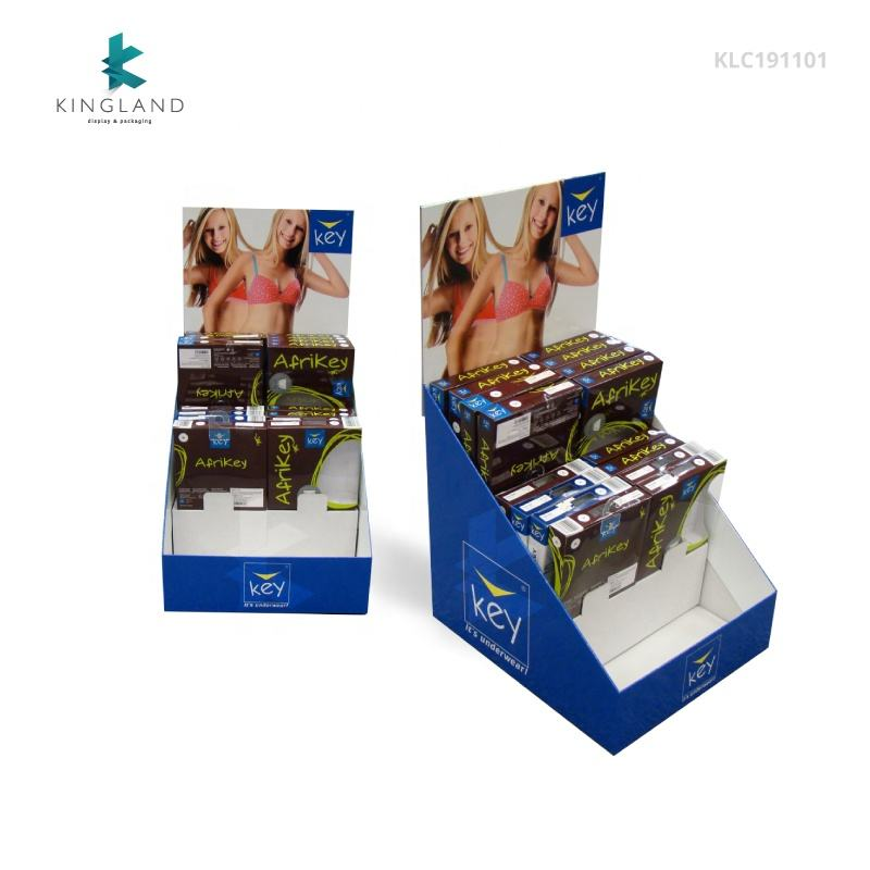 Custom Wholesale Cardboard Counter Top Underwear Display Rack, POP Corrugated Counter Display