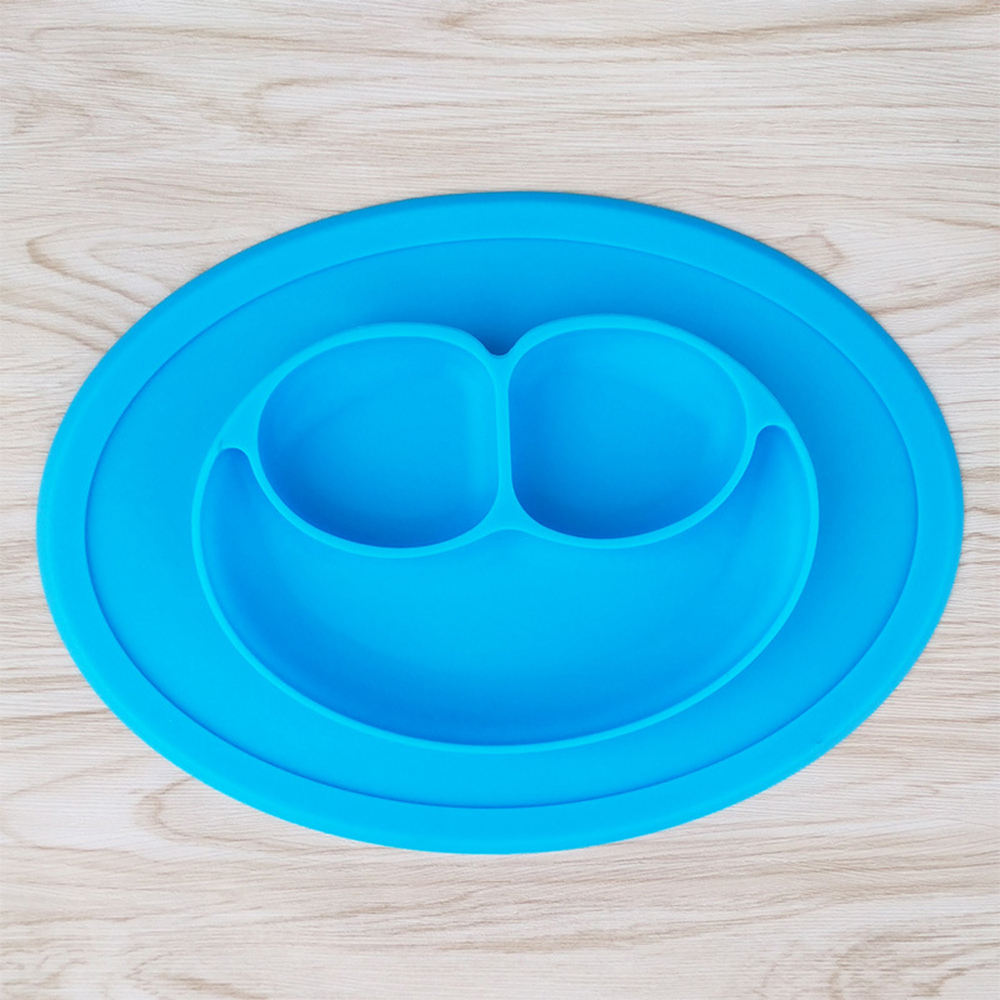 Microwave Friendly silicone for toddelr kids divided suction plate with lid cover cute dinosaur baby dishes
