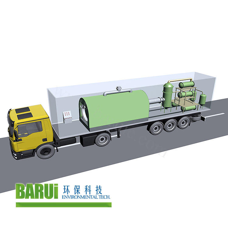 small pyrolysis machine truck loaded type used tyre recycling plant to fuel oil