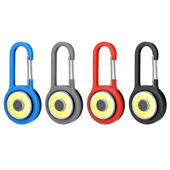 Mini Portable Key Chain Flashlight Plastic Carabiner LED COB Keychain Light