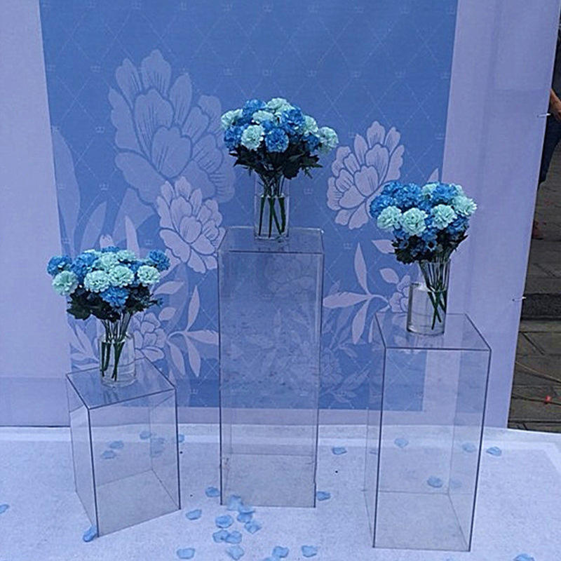 Acrylic Wedding Flower Stand Aisle Crystal Square Column Wedding Festival Decoration Flower Frame Road Decoration Column