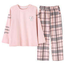 Cartoon Print Family Adult Ladies' Plain Cotton Pajamas,100% Cotton Women'S Pajamas