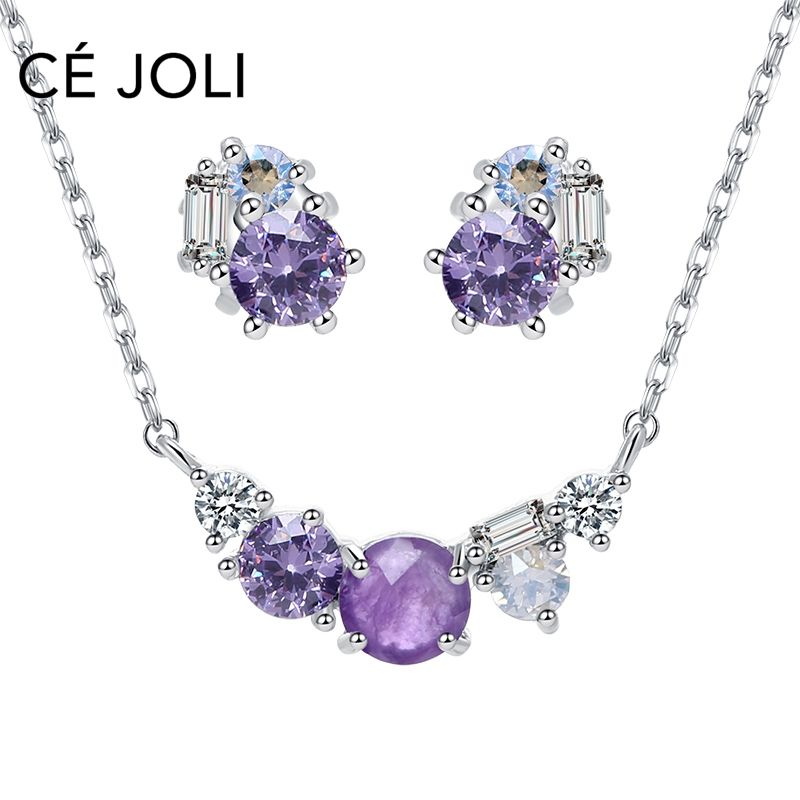Wholesale CZ earring necklace jewellery set girls wax setting February amethyst natural stone birthstone jewelry set
