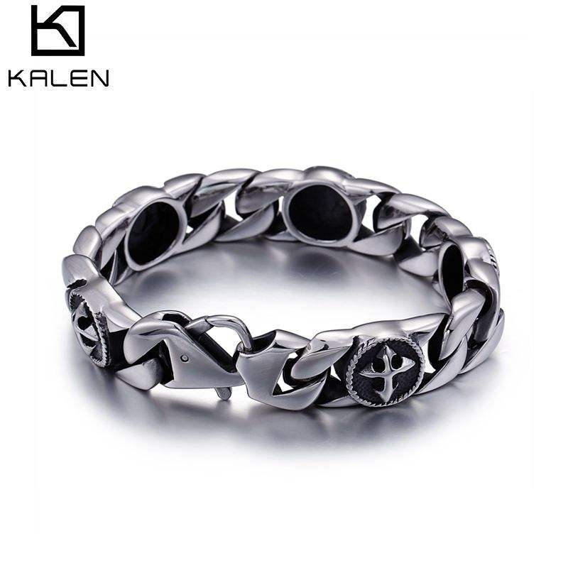 KALEN Stainless Steel Silver Cross Fashion Bracelets For Men