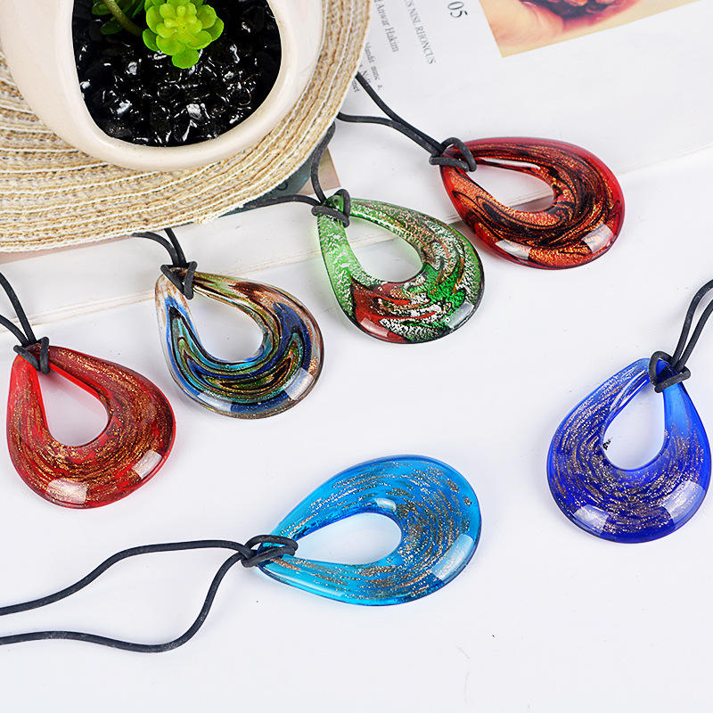 Jewelry 2019 Women Wholesale Jewelry Necklace Tear Drop Shape Glazed Lampwork Murano Millefiori Glass Pendant Glass Pendant