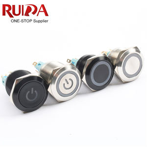 Stainless Steel/Back body 22mm 6pin NO NC 12V 24V 220V ring LED light latching/momentary Waterproof Metal Push Button Switch