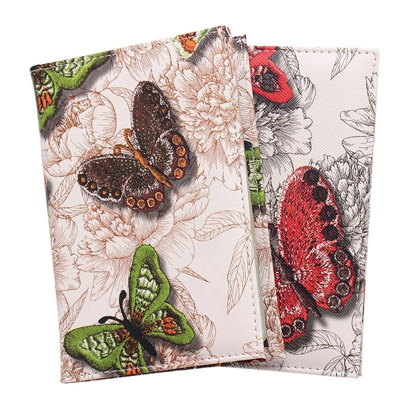 atinfor PU Leather Women High quality Fashion Personal Colorful Butterfly Printing Passport Holder Passport Cover