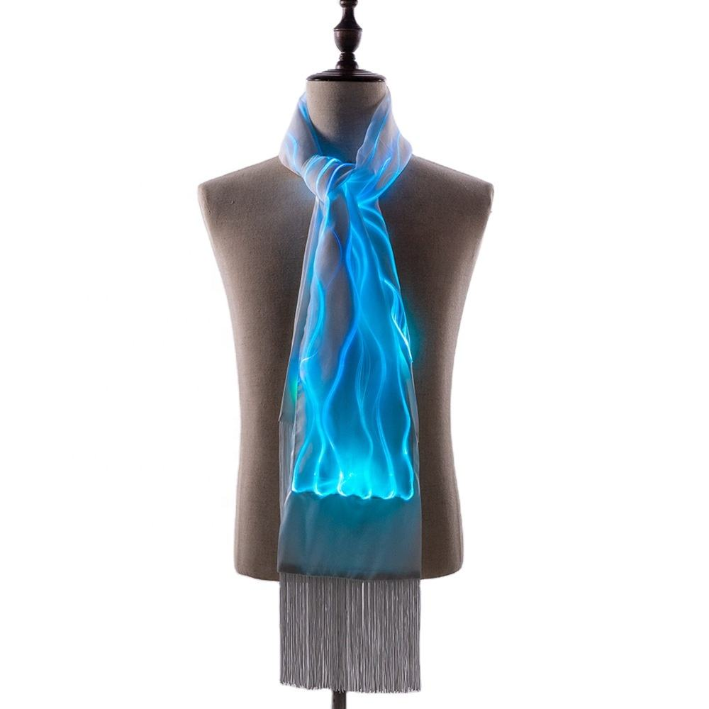 FIber Optic Scarf, Light Up Scarf, USB Rechargeable Glowing Luminous Scarf Party Favors Led Scarf