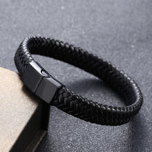 New Arrival Men's Genuine Leather Hand Jewelry Vintage Handmade Braided Leather Bracelet Magnetic Clasp Leather Bracelet